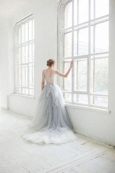 Pale blue gown.