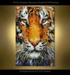 """Tiger Oil Painting Palette Knife Thick Paint Technique Original  by Paula Size  36"""" x 24"""" Ready to hang"""