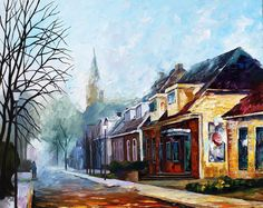 """Winter In The City — PALETTE KNIFE1 Oil Painting On Canvas By Leonid Afremov - Size: 24""""X30"""""""