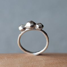 Sterling silver gem faceted eternity ring by oblissjewellery