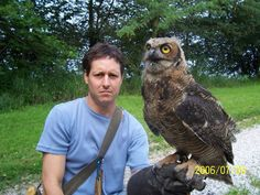 "Eddie Brochin with Great Horned Owl ""Radar"" a.k.a. ""Goose"" at 6 months!"