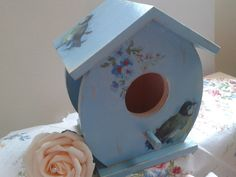 Hand Painted Wooden Bird Box With vintage by Tinascraftsforyou, Holiday Club, Bird Boxes, Wooden Bird, Hand Painted, Unique Jewelry, Handmade Gifts, Outdoor Decor, Crafts, Etsy