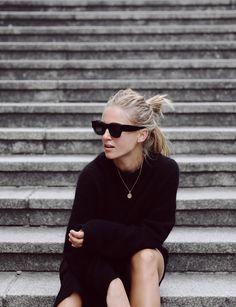 Céline zoe sunglasses, sneakers and bracelet, Acne Studios knit jumper & Edited dress. Via Mija