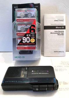 Microcassette Tape Voice Recorder Optimus Micro 35 14 1162 & 6 pk NIP Cassettes | Consumer Electronics, Gadgets & Other Electronics, Voice Recorders, Dictaphones | eBay!