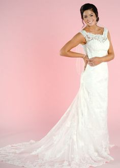 Lace wedding gown: Lace sweetheart gown. i would like it with a beaded sash though