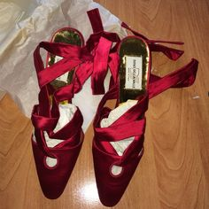 Diego della Valle satin red heels Formal herls! NIB! Satin with wrap around the ankle. Beautiful Diego della Valle Shoes Heels
