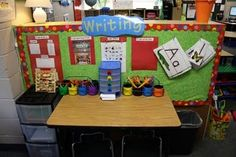 Ideas to improve writing center-add wastebasket, writing tools in basket/tubs, letters, names cards/chart, word cards