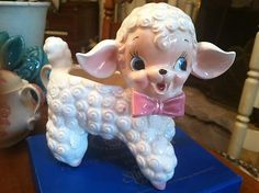 VTG 50s 60s Pink Lamb Planter cute as baby shower centerpiece with flowers I have mine and my Mothers....