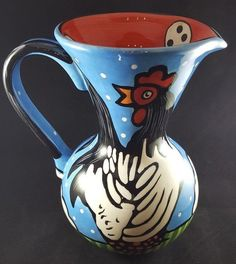 Vintage Pizzato Pitcher Vase Rooster Fruit Hand Painted