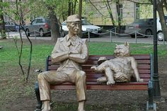 """Koroviev and Behemoth. Personages of the book """"The Master and Margarita"""" by M. Michail Bulgakov, Dumb Cats, The Master And Margarita, Great Novels, Popular Culture, Moscow, Creatures, Sculpture, Statue"""