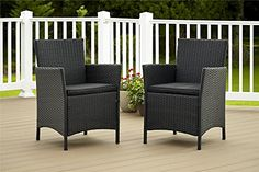Get this Outdoor Jamaica Resin Charcoal Wicker Cushion Dining Chair Set, which includes 2 comfortable and durable wicker chairs for your beautiful home outdoor.