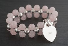 Personalised Double Rose Quartz Bracelet