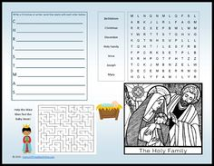 Free printable Christmas activity placemat that includes a word search, coloring area of the Holy Family, maze, and Christmas acrostic activity.