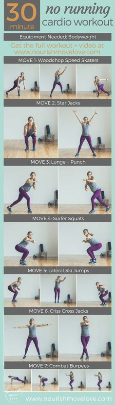 30-Minute, No Running Cardio Workout | http://www.nourishmovelove.com | Full Body Workout. Bodyweight Workout. Cardio + Strength. Upper body, lower body.