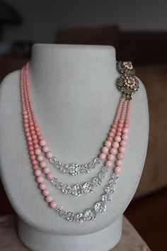 Minty Signed Miriam Haskell 100 Natural Coral Crystal Necklace Ultra RARE   eBay