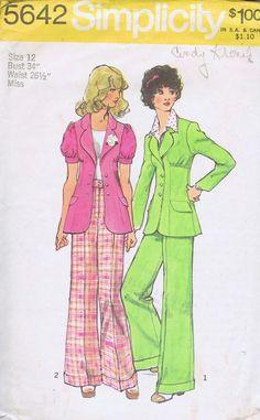 "Jacket Pants VINTAGE SEWING PATTERN 1970s SIMPLICITY SIZE 12 BUST 34 HIP 36"" CUT"