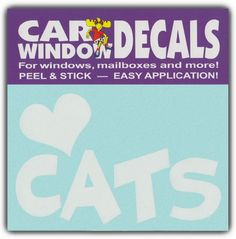 Car Window Decals: I Love Cats | Cat Lover | Stickers Cars Trucks Glass Crazy Sticker Guy http://www.amazon.com/dp/B00ED2IVHK/ref=cm_sw_r_pi_dp_C1RKvb1R3VWDC