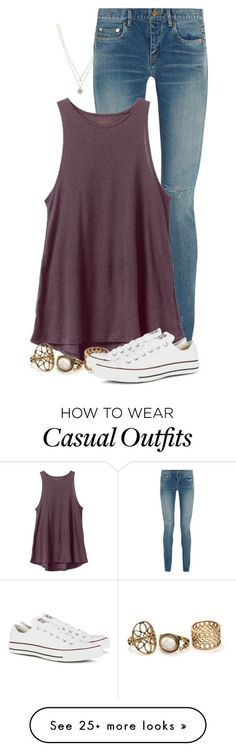 """Casual Tuesday"" by newyearscutie on Polyvore featuring LC Lauren Conrad, Yves Saint Laurent, RVCA and Converse:"