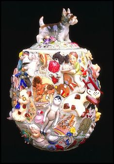 Childhood Memories by Lynn Mattson, pique assiette. Mosaic Crafts, Mosaic Projects, Mosaic Vase, Mosaic Pieces, Mosaic Madness, Found Object Art, Altered Bottles, Assemblage Art, Recycled Art