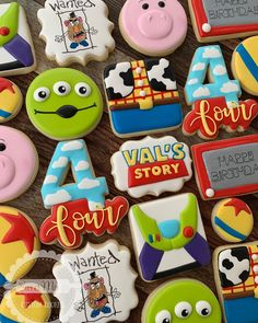 Toy Story cookies for Val's birthday! - Toy Story cookies for Val's birthday! Toy Story Party, Toy Story Birthday Cake, 2nd Birthday Party Themes, Toy Story Theme, 4th Birthday Cakes, Fourth Birthday, Birthday Cookies, First Birthday Parties, Birthday Party Decorations