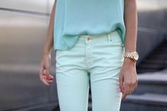 Who would have known I'd fall for mint green pants?  So fresh...