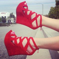 Red high heel sandals for ladies