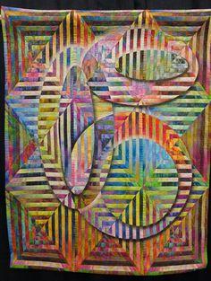 Squared Illusion 6 by Gloria Hansen.  2014 Denver National Quilt Show, photo by Karen at Sew Fun 2 Quilt