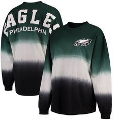 93b2bd58491 Women's Philadelphia Eagles NFL Pro Line by Fanatics Branded Midnight Green/Black  Spirit Jersey Long Sleeve T-Shirt