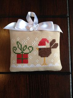 Tralala cross stitch Christmas ornament