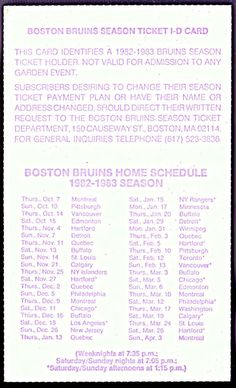 1982-83 BOSTON BRUINS SEASON TICKET ID CARD SCHEDULE EX+NM CONDITION FREE SHIP #Pocket #SCHEDULE