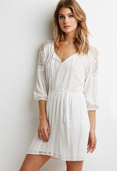 Crochet-Paneled Peasant Dress | LOVE21 - 2000116258