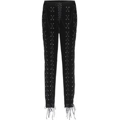 Unravel Lace-Up Velvet Trousers (€2.070) ❤ liked on Polyvore featuring pants, black, lace up pants, velvet trousers, lace up trousers, velvet pants and straight pants