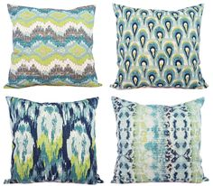 Two Throw Pillow Covers Blue and Green Ikat  by CastawayCoveDecor, $30.00