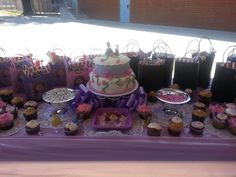 Sophia the first birthday party dessert table