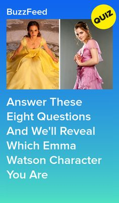 Answer These Eight Questions And We'll Reveal Which Emma Watson Character You Are - Quiz - Disney Disney Quiz, Disney Princess Quiz, Disney Facts, Disney Movies, Disney Characters, Quizzes Buzzfeed, Disney Buzzfeed, Harry Potter Quiz, Hermione Granger