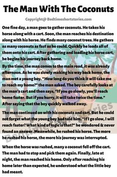 This is one of the great humorous stories in english for kids. Full story in the link above, read now. Short Funny Stories, Funny Stories For Kids, Short Moral Stories, Moral Stories For Kids, Reading Stories, English Moral Stories, English Stories For Kids, Learning English For Kids, English Story