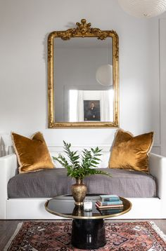 Fresh traditional design for a shotgun bungalow in New Orleans home tour on Thou Swell Kevin Francis O& furniture living room Home Interior, Interior Decorating, French Interior Design, Yellow Interior, Interior Modern, Scandinavian Interior, Living Room Decor, Living Spaces, Large Mirror Living Room