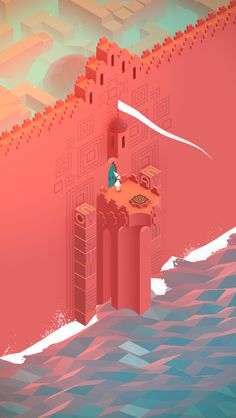 The red wall / #MonumentValley iOS #Game by ustwo. I love these old style bit games.