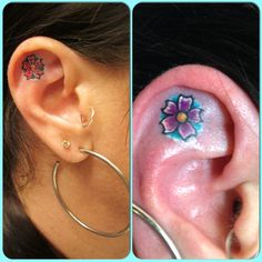 My ear tattoo, I love it! Next is to pierce the center of the flower.