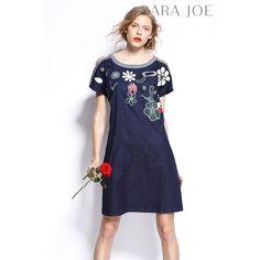 Xeria Floral Embroidery Denim Dress