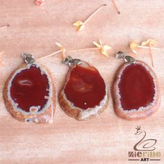 RAW AGATE SLICE NECKLACE PENDANT PINK LOT 3 PCS GEM ROUGH GEMSTONE GB00 00093 #ZL #PENDANT