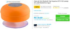 Caixa de Som Bluetooth Yep! Aquarius MTC1120 Laranja 3W USB Resistente à Água << R$ 3990 >>
