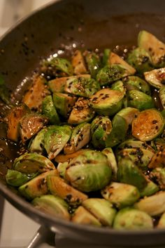 Brussels sprouts with soy, honey and red pepper flakes!