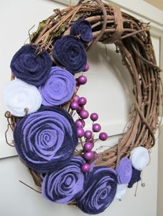 Grapevine Wreath with Felt Flowers Custom Made by April421 on Etsy, $38.00