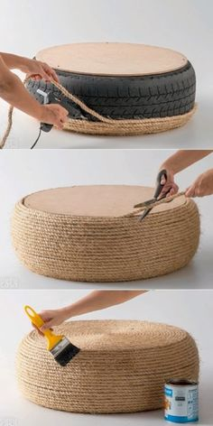 TO DIY OR NOT TO DIY: RECICLAR UM PNEU NUM POUF OU NUMA MESA DE APOIO Tire Furniture, Living Furniture, Diy Craft Projects, Diy And Crafts, Tire Ottoman, Tyres Recycle, Upcycle, Old Tires, Cool Diy