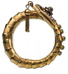 A Gem-set Gold And Enamel Snake Bracelet, Early 20th