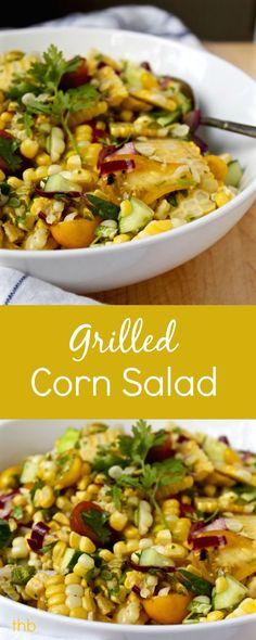 Grilled corn and fresh veggies in honey-lime vinaigrette