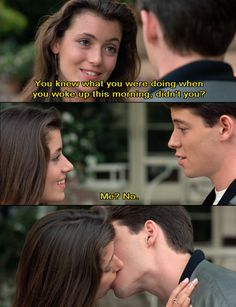 ferris bueller's day off quotes Day Off Quotes, Tv Quotes, Movie Quotes, Teen Movies, Iconic Movies, Great Movies, Mia Sara, Ferris Bueller, Jack White