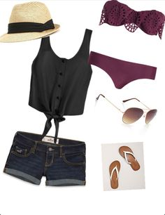love the bikini, hat and everything about this beach outfit! Summer Shorts Outfits, Shorts Outfits Women, Short Outfits, Outfits For Teens, Cute Outfits, Outfit Summer, Trendy Swimwear, Cute Swimsuits, Summer Wear