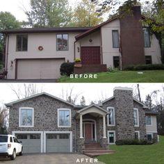 bi-level exterior remodeling | Bi-level exterior make-over, remodeling, addition, Dryvit, man-made ...